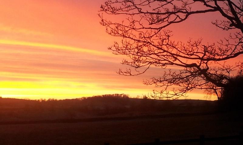 Sunset at Newton Grange B&B near Skipton